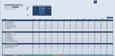 Kassebeholdning i excel regnskabsprogram fra Remy.dk og Codefreeze